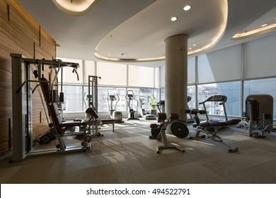 Interior of a modern hotel gym