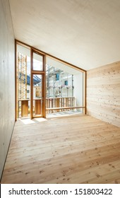 interior, modern house with wooden wall, large window