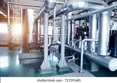 The interior of a modern industrial gas boiler room. Pipelines, water pumps, valves, manometers