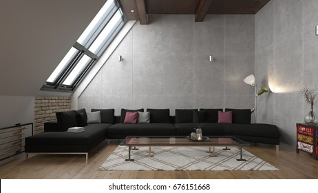 Interior of a modern and interesting loft - 3 D render using 3 d s Max