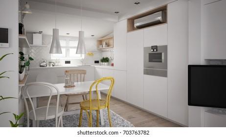 Interior of a modern kitchen - 3 D render using 3 d s Max