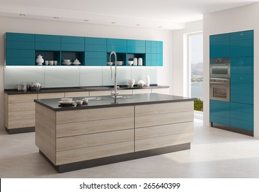 Interior of modern kitchen. 3d  render. Photo behind the window was made by me.