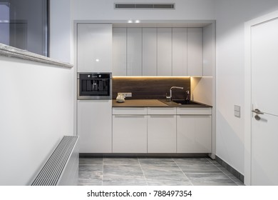 Interior of modern kitchen in the apartment.