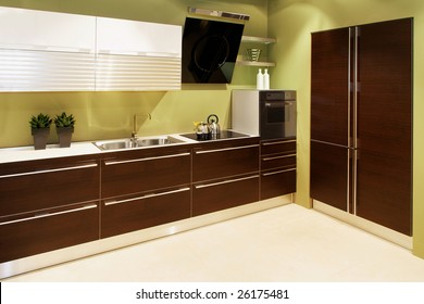 Interior of modern kitchen with big counter