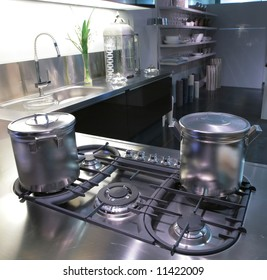 interior of modern kitchen with steel saucepan