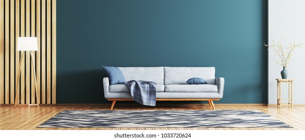 Interior of modern living room with blue sofa 3d rendering