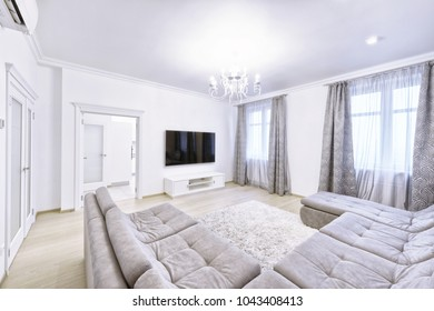 The interior of the modern living room in white.