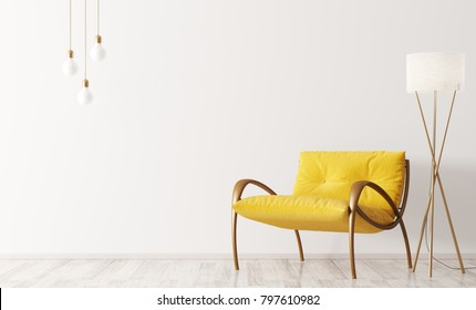 Interior of modern living room with yellow armchair and floor lamp 3d rendering