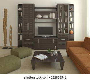 Interior of modern living-room. 3d render.