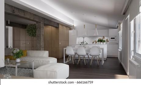 Interior of a modern loft - 3 D render using 3 d s Max