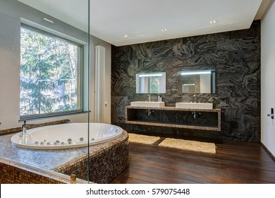 interior of a modern, luxurious bathroom with jacuzzi