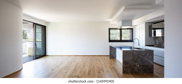 Interior of modern luxury apartment, empty attic, kitchen open space