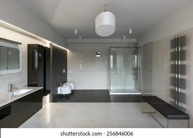 Interior of modern luxury bathroom in minimalistic style