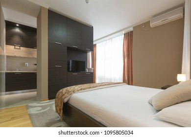 Interior of a modern luxury hotel bedroom