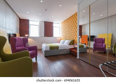 Interior of a modern luxury hotel bedroom