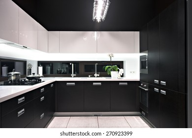 Interior of modern luxury kitchen in private house.