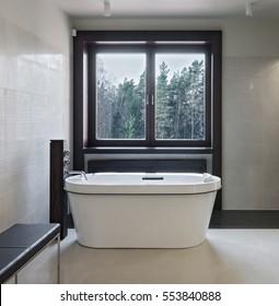 Interior of modern luxury minimalistic bathroom with window
