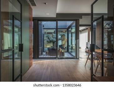 Interior of modern luxury penthouse apartment