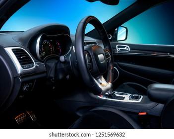 the interior of a modern luxury SUV