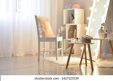 Interior of modern makeup room
