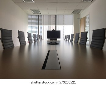 Interior of modern meeting room or conference room