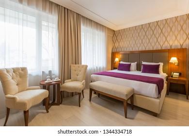 Interior of a modern new hotel bedroom