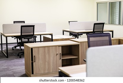 The Interior Of The Modern And New Office With Furniture