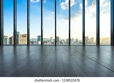 interior of modern office building with city skyline in hangzhou china