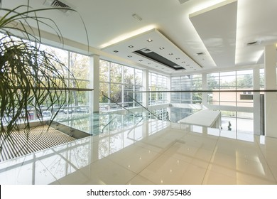 Interior of the modern office building in the sunlight