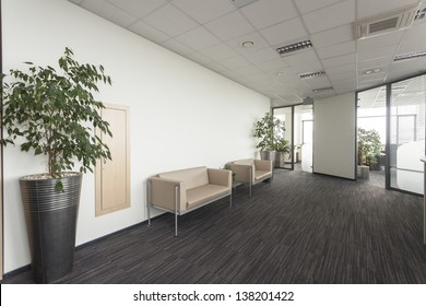 Interior of a modern office, corridor with two sofa