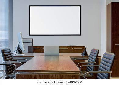 Interior of modern office with an interactive panel on the wall