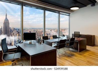 Interior of modern office with panoramic windows