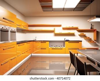 Interior of modern orange kitchen 3d render