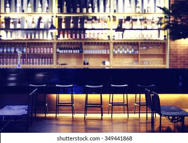 Interior of a modern pub or bar at night
