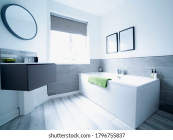 Interior of modern refurbished house. Show home with clean bright surfaces.