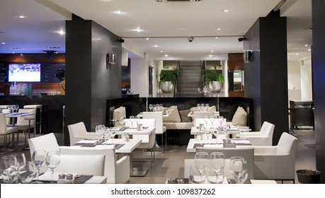 interior of modern restaurant with bar