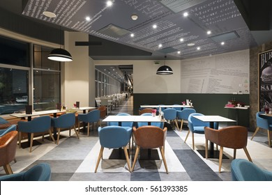 Interior of a modern restaurant in office building