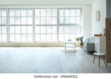 Interior of modern room with big window