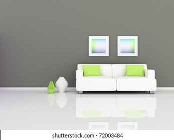 Interior of the modern room, grey wall and white sofa