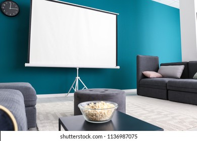 Interior of modern room with home cinema