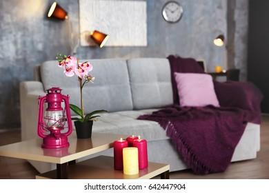 Interior of modern room with lilac decorative elements