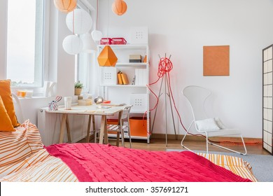 Interior of modern room for teenage girl