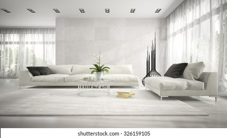 Interior of modern room with white couch 3D rendering