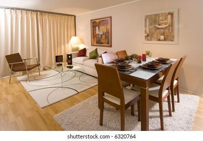 interior of modern salon decorated with tasteful