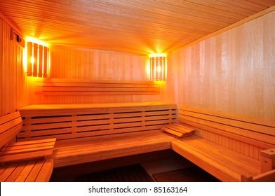 Interior of a modern sauna cabin