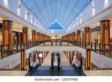 interior of modern shopping center