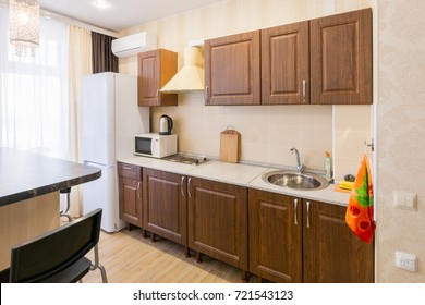 Interior of a modern spacious inexpensive kitchen