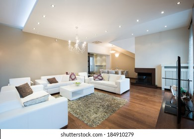 Interior of a modern spacious living room with fireplace