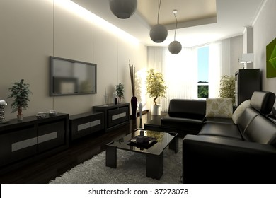 Interior in modern style, a drawing room