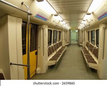 Interior of a modern subway car
